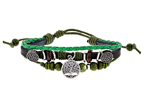 Green Connemara Marble Silver Tone Over Brass Leather Bracelet