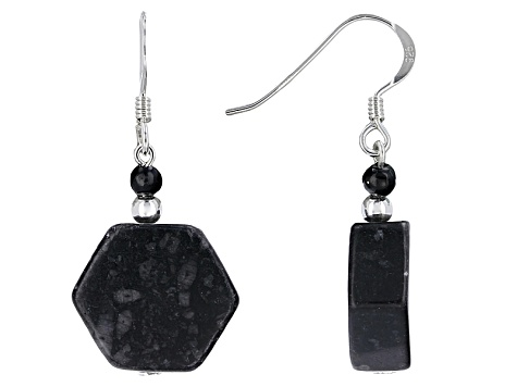 Black Kilkenny Marble Sterling Silver Earrings
