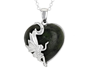 Green Connemara Marble Sterling Silver Fairy Pendant With Chain.