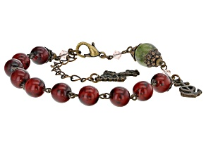 Green Connemara Marble Bronze Tone Over Brass Rosary Bracelet