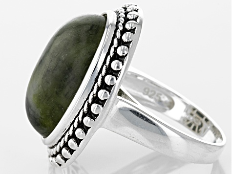 Green Connemara Marble Sterling Silver Ring