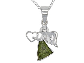 Green Connemara Marble Sterling Silver Angel Pendant With Chain