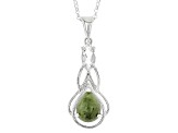 Green Connemara Marble Silver Pendant With Chain .70ctw