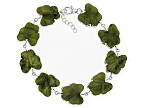 Green Connemara Marble Shamrock Silver Bracelet