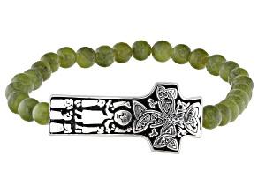 Green Connemara Marble Silver Cross Bracelet