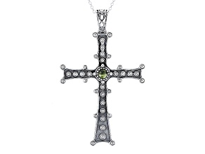 Green Connemara Marble Silver Cross Pendant With Chain