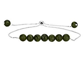 Green Connemara Marble Silver Adjustable Bracelet