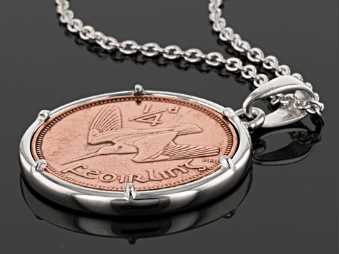 Bronze Irish Farthing Coin Silver Pendant With Chain