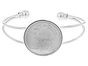 Silver Tone Brass Coin Bracelet