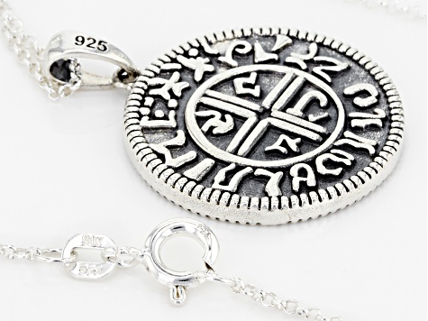 Sterling Silver Coin Replica Pendant With Chain