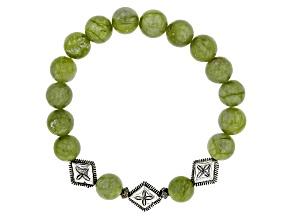 Green Connemara Marble Silver Tone Brass Bracelet