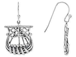 Sterling Silver Ship Earrings