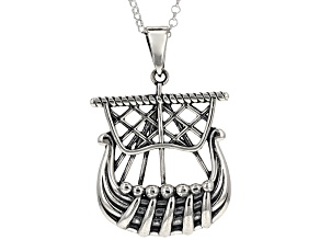 Sterling Silver Ship Pendant With Chain