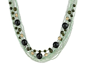 Green Connemara Marble Silver Tone Brass Necklace