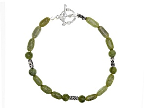 Green Connemara Marble Silver Over Brass Bracelet