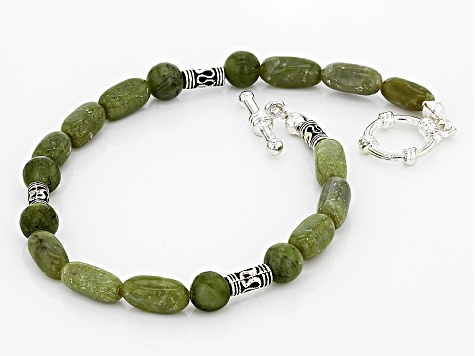 Green Connemara Marble Silver Over Brass Bracelet