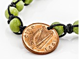 Green Connemara Marble And Copper Coin Bracelet