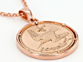 Coin Rose Tone Bronze Pendant With Chain