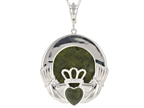 Green Connemara Marble Silver Enhancer With Chain