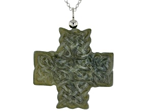 Green Connemara Marble Carved Knot Work Cross Pendant with Silver Chain