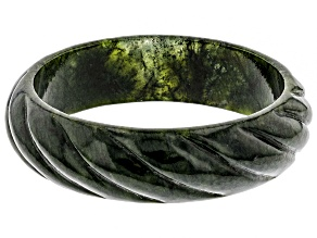 Green Carved Connemara Marble Bangle Bracelet