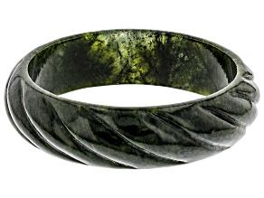 Green Carved Connemara Marble Bangle Bracelet