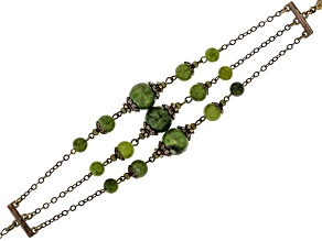 Green Connemara Marble brass 3-Line Bracelet
