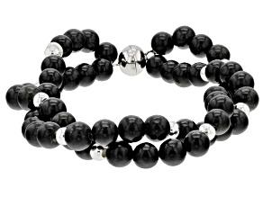 Black Kilkenny Marble Sterling Silver Bead Bracelet