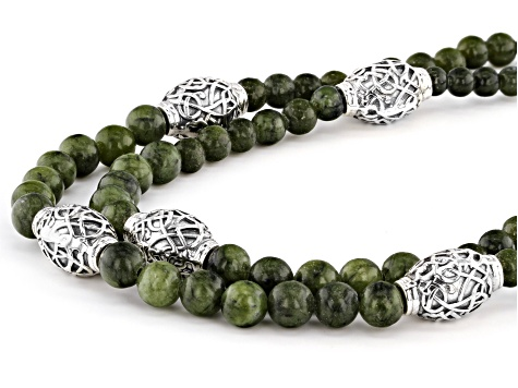 Green Connemara Marble, Sterling Silver Bead Double Strand Necklace