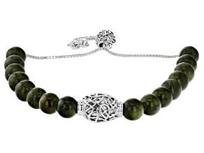 Green Connemara Marble Silver Bolo Bracelet
