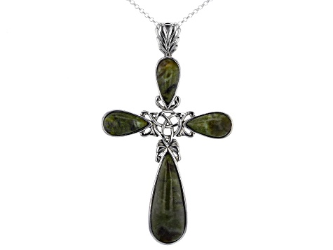 Connemara Marble Sterling Silver Celtic Cross Pendant with Chain