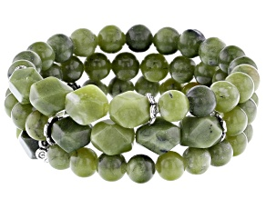 Green Connemara Marble Bead 3 Stretch Bracelet Set