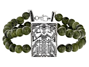 Green Connemara Marble Viking Man Two-Strand Silver Bracelet