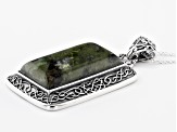 Green Connemara Marble Sterling Silver Pendant With Chain