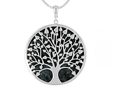 Green Connemara Marble Tree Of Life Silver Enhancer With Chain