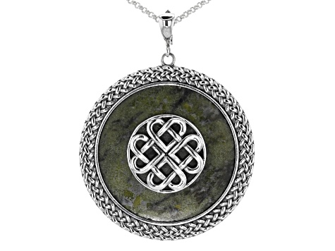 Connemara Marble Disc Silver Celtic Knot Enhancer with Chain