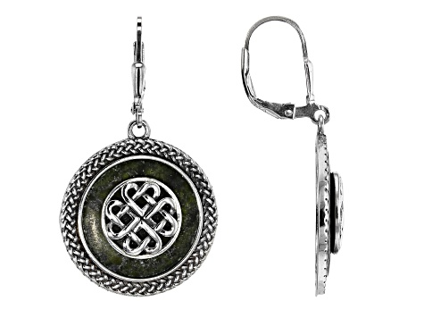 8f9a67e0a8429 Connemara Marble Celtic Knot Disc Silver Earrings