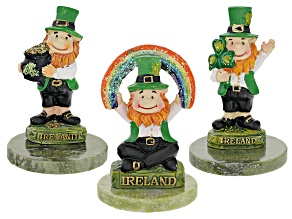 Set Of 3 Leprechaun Figurines with 3 Connemara Marble Bases