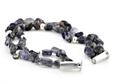 Free Form Iolite Nugget Silver Necklace and Bracelet Set.