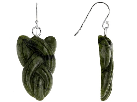 Green Connemara Marble Sterling Silver Celtic Earrings.