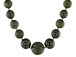 Green Connemara Marble Sterling Silver Necklace