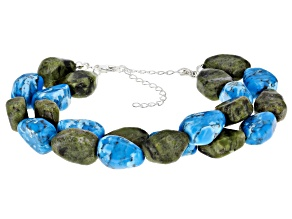 Connemara Marble And Turquoise Simulant Two Strand Silver Bracelet