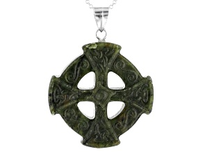 Green Carved Connemara Marble Gaelic Cross Pendant With Chain.