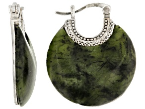 Green Connemara Marble Silver Earrings