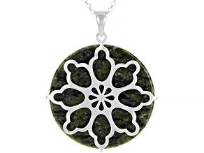Green Connemara Marble Silver Pendant With Chain