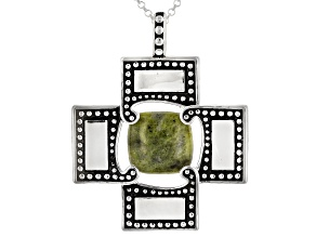 "Green Connemara Marble Silver Pendant With 24"" Chain"
