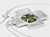 Green Connemara Marble Silver Pendant With 24