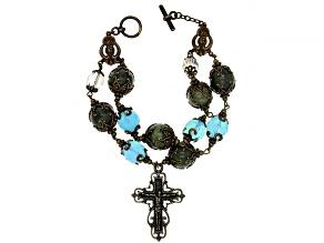 Green Connemara Marble Brass Rosary Bracelet