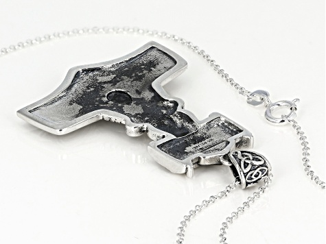 Connemara Marble Sterling Silver Viking Hammer Pendant With Chain