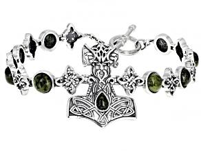 Connemara Marble Sterling Silver Viking Hammer Bracelet